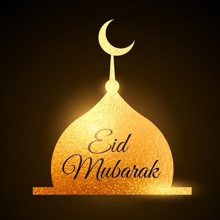 greetings card: eid mubarak muslims festival with golden mosque