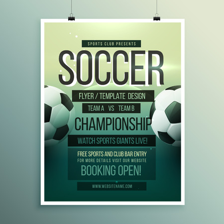 championship: soccer tournament championship game flyer brochure template Illustration