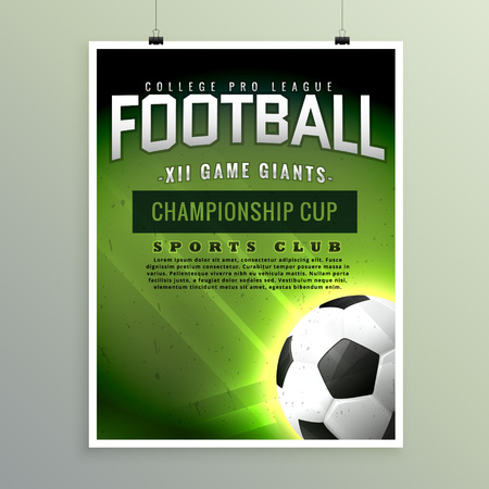 Soccer League Sports Event Flyer Design Royalty Free Cliparts ...