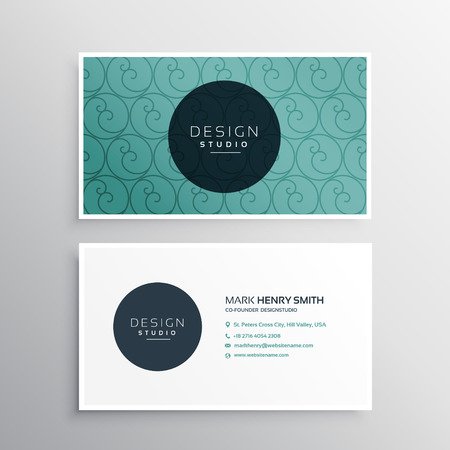 minimal: minimal blue business card with pattern design Illustration