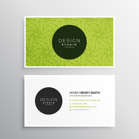 business card template in green pattern