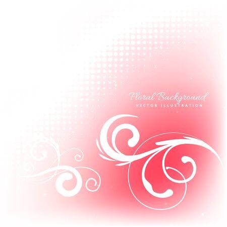 florish: floral in pink background Illustration