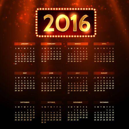 shiny: shiny 2016 calender Illustration