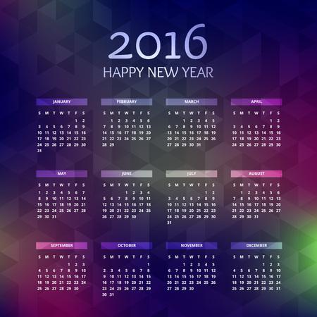 calender design: new year 2016 calender