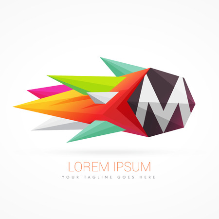 colorful abstract  with letter M