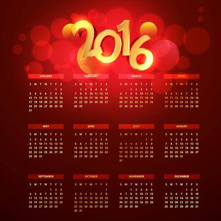calender design: red golden 2016 calender