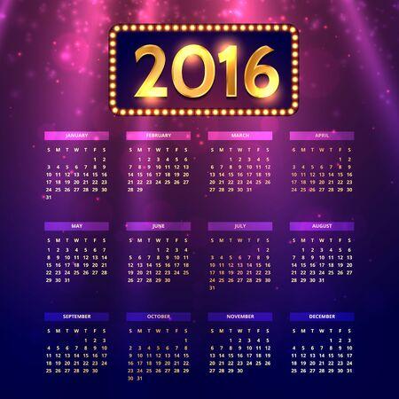 shiny: shiny colorful 2016 calender Illustration