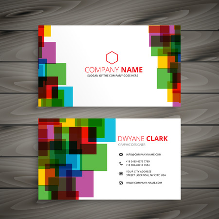 business card: colorful squares business card