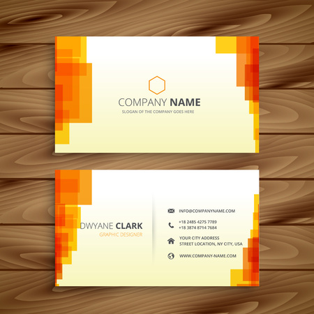 business card: orange pixilated business card Illustration