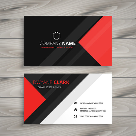 red black corporate business card Ilustrace