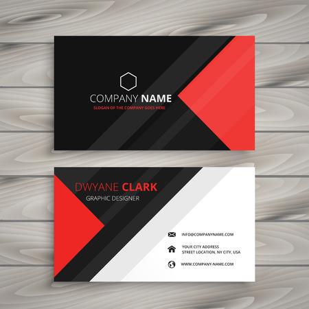 red black corporate business card Vettoriali