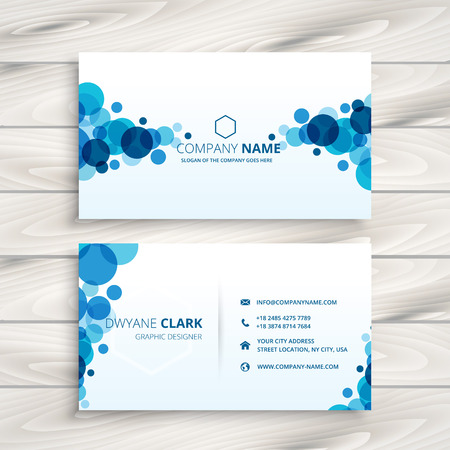 blue card: blue transparent circles business card