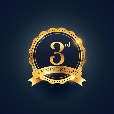 3rd anniversary celebration badge label in golden color Vectores
