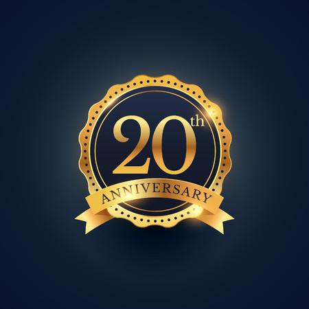 20th anniversary celebration badge label in golden color