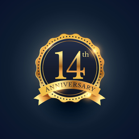 14th: 14th anniversary celebration badge label in golden color