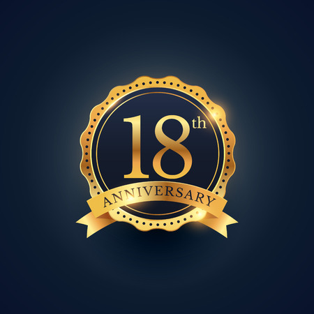 18th: 18th anniversary celebration badge label in golden color
