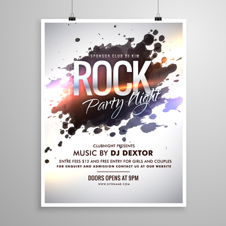 rock music flyer poster template with ink splash