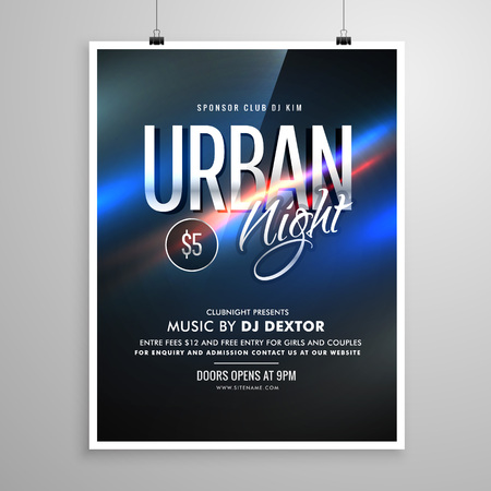 urban night flyer music template poster