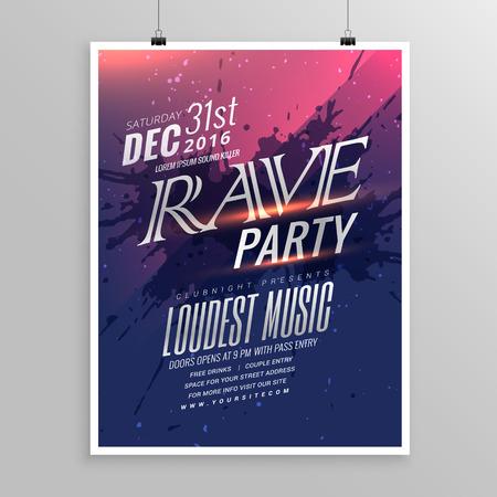 rave party muziek flyer template