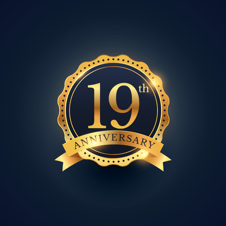 19 years: 19th anniversary celebration badge label in golden color