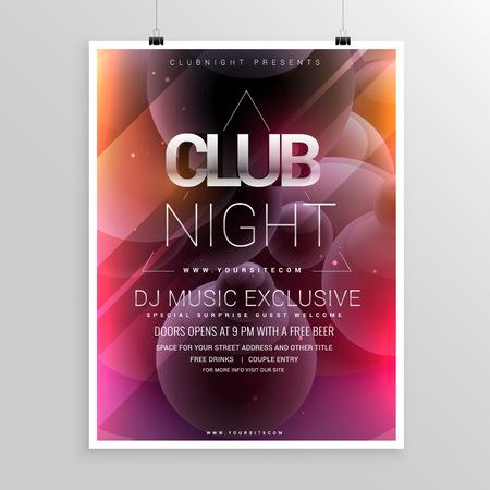 date night: club night party flyer template with date and time details