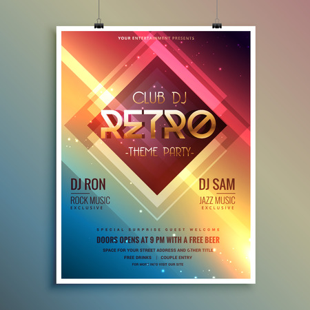 remix: retro club theme party flyer template
