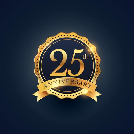 황금 색상으로 25 주년 축 하 배지 레이블 스톡 콘텐츠 - 61040095