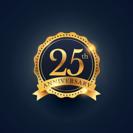 25th anniversary celebration badge label in golden color Banco de Imagens - 61040095