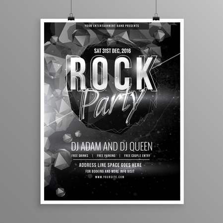 remix: black rock music party flyer poster template