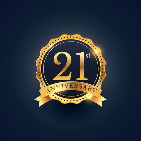 21st anniversary celebration badge label in golden color