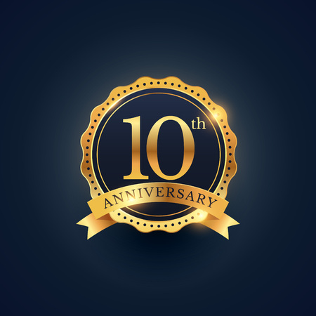 10th anniversary celebration badge label in golden color