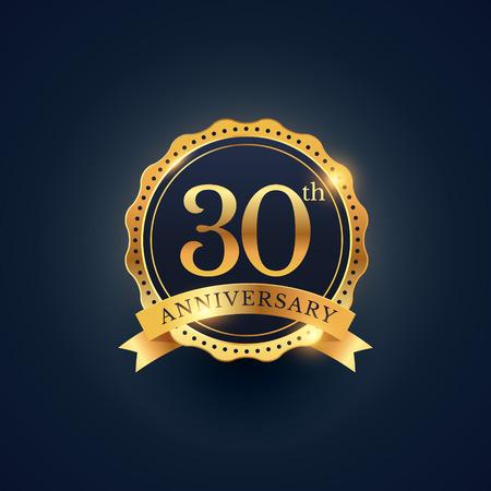 30th: 30th anniversary celebration badge label in golden color