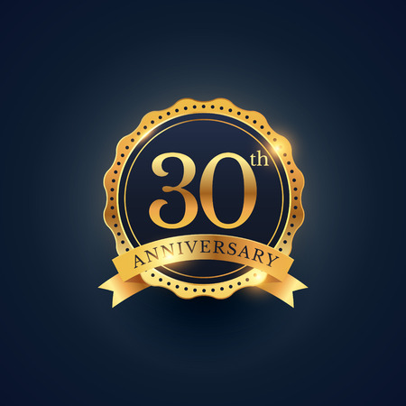 30th anniversary celebration badge label in golden color