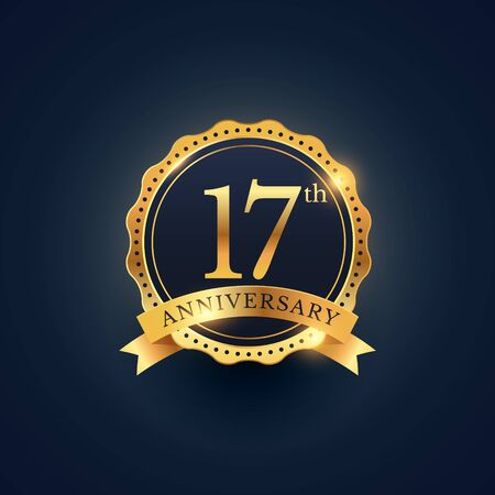 17th: 17th anniversary celebration badge label in golden color