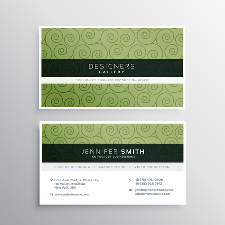green swirl: modern business card with green swirl pattern