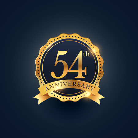 54: 54th anniversary celebration badge label in golden color
