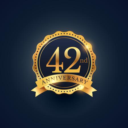 42nd: 42nd anniversary celebration badge label in golden color