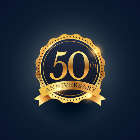 50th anniversary celebration badge label in golden color Vectores