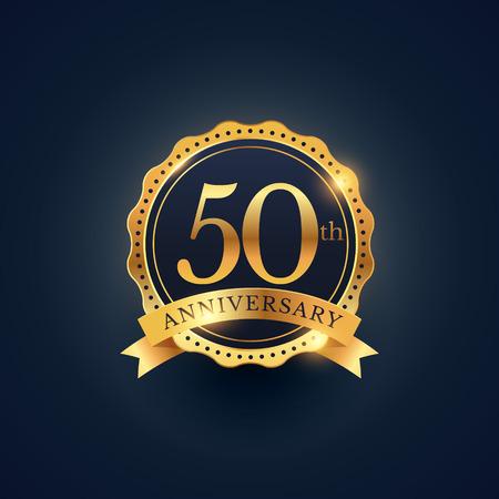 50th anniversary celebration badge label in golden color Stock Illustratie