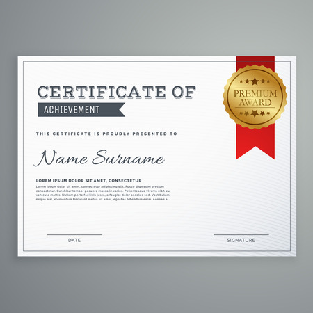 einfache, elegante horizontale Zertifikatvorlage