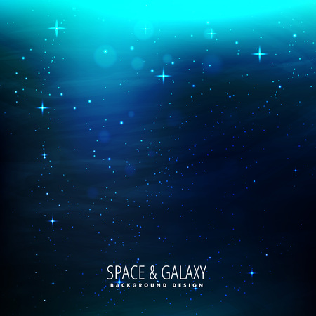 milkyway: space background with blue lights Illustration