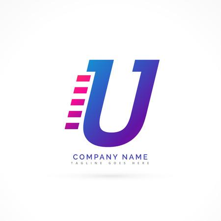 speeding: speeding letter U logo design