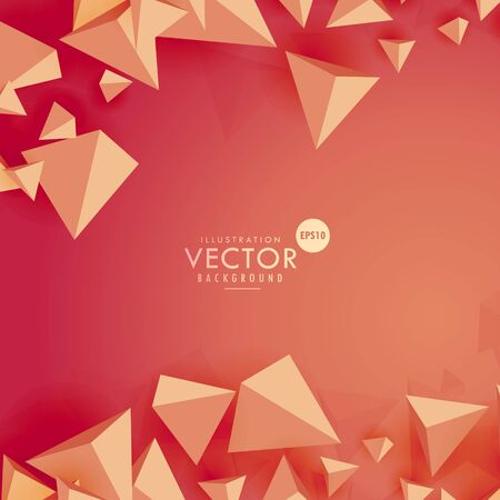 3d triangle: abstract 3d triangle background on red background