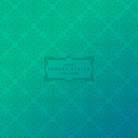 turquoise background with ornamental pattern Vector Illustration