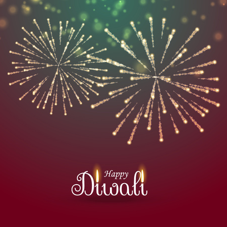 festival of lights: festival of lights happy diwali greeting with fireworks Illustration