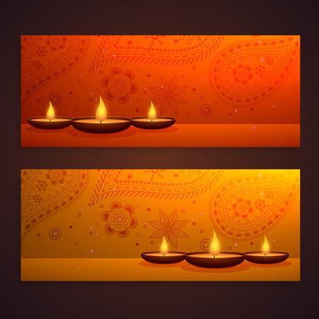 diya: set of beautiful diwali banners with diya and paisley decoration Illustration