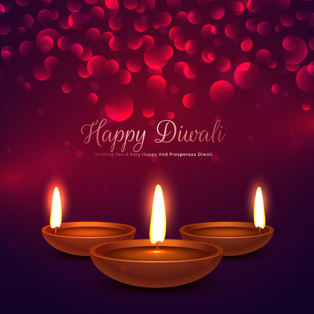 happy diwali background with diya and bokeh effect