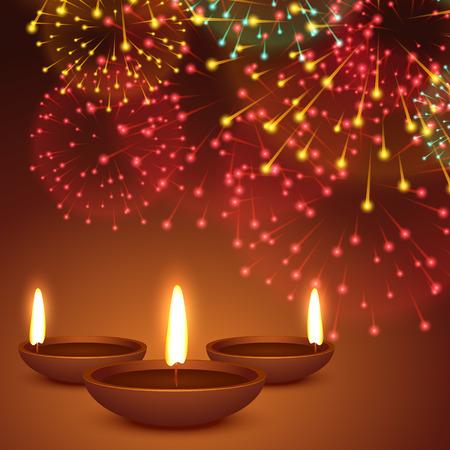 diya: fireworks background with diwali diya