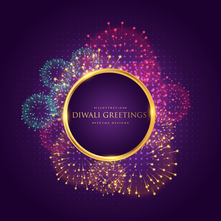 diwali greeting with colorful fireworks Illustration