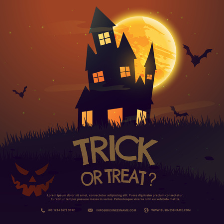 flying bats: scary halloween house with moon and flying bats